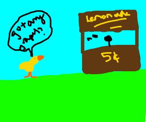 ducks visit lemonade stand