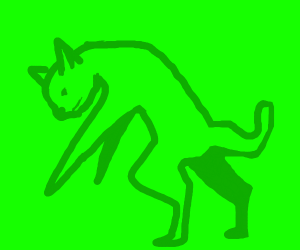 Green Cat standing on two legs