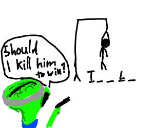 Alien brain misunderstood how to play hangman