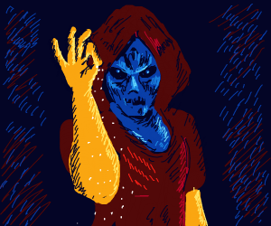"""blue alien in robe with gold gloves """"ok"""" sign"""