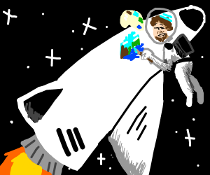 Bob Ross Riding A Rocket