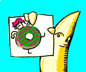 Lenny face banana has a photo of a donut