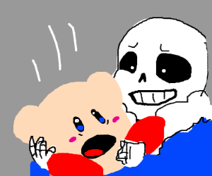 Sans catches falling Kirby