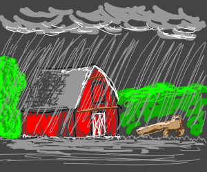 A barn on a dark rainy night