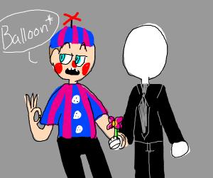 baloon boy and slender mans child holds flowr