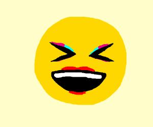 Laugh emoji with makeup but no filter