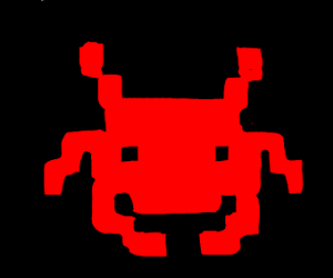 An alien from the classic Space Invaders game