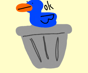 Blue duck sitting on a trash can