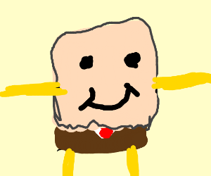 Spongebob with a paper bag on his face