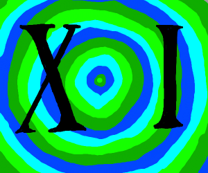 11, in green and blue