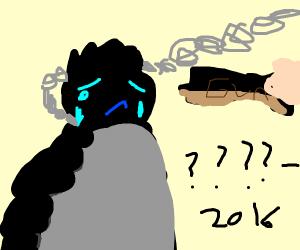 Sad ape on a chained leash