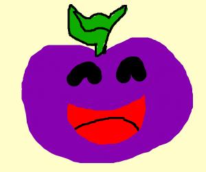Happy purple apple.
