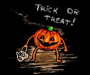pumpkinhead goes trick or treating