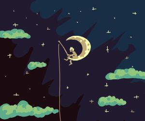 A boy fishing on the moon