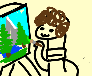 bob ross earthworm is painting happy trees