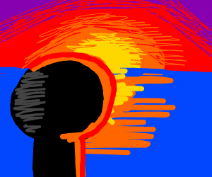 person watching a sunset