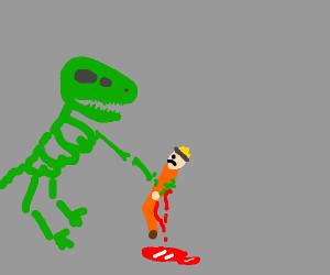 green dinosaur skeleton killing naruto