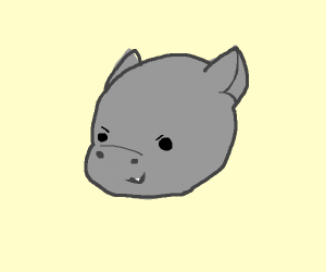 Cute hippo with one snaggletooth