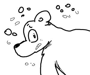 a polar bear in a snowstorm!
