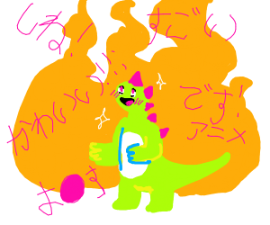 dragon/reptile anime behind a small fire