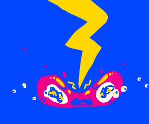 kawaii pink blob struck with lightning