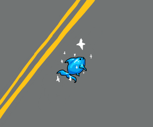 a fish on the road