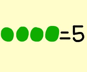 4 peas = 5