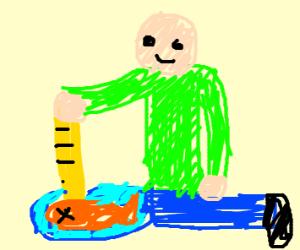 baldi fishing with his ruler