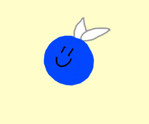 happy blue ball with upsidown fly wings
