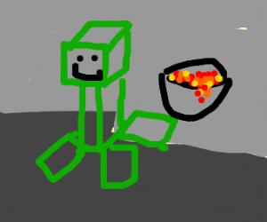 Minecraft Creeper with a lava bucket
