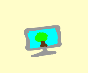 Computer with tree on the screen