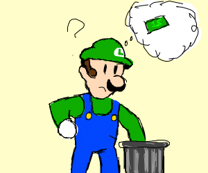 Luigi holding money in a trash can