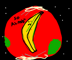Lonely Banana on Red Earth