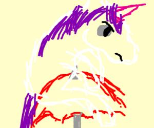 unicorn flying on umbrella