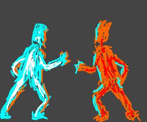 Ice man.      VS.      fire man