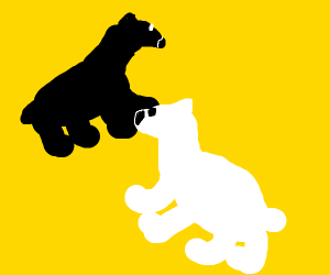 Black Bear & White Bear in a Yellow Void