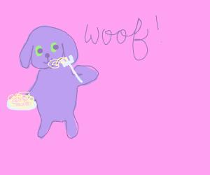 A dog eating spaghetti