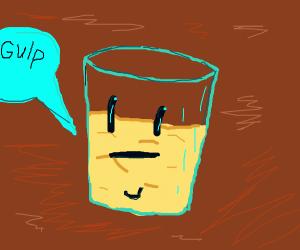 "A soda cup that says ""Gulp"""