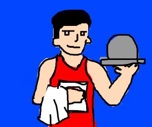 athlete waiter in blue lycra