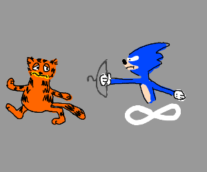 Sonic chases Garfield with a hanger
