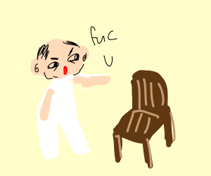 Man yells at chair with UwU face