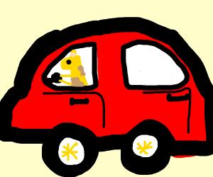 A giraffe driving a car