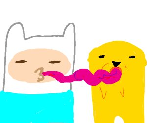 Finn and Jake posing with tongues out