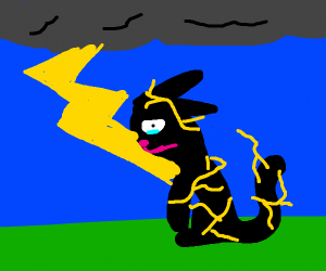 sad cat is struck by lightning