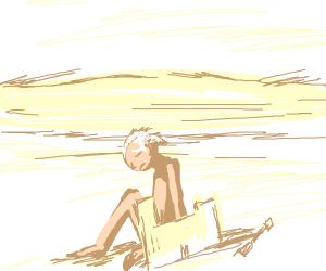 sad naked man on a milky beach