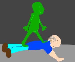 green man walks on bald guy