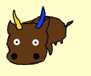 a bull with  yellow and blue horns
