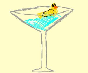Cute duck in a martini glass