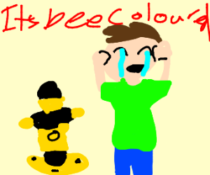 Crying about a bee-colored fire hydrant.