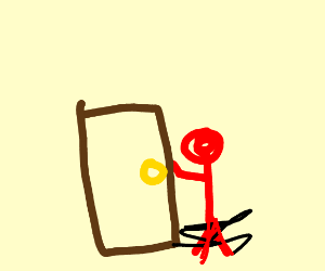 a red guy opening a door